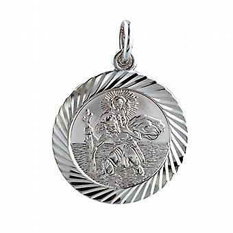 Sterling Silver St Christopher round with a diamond cut edge