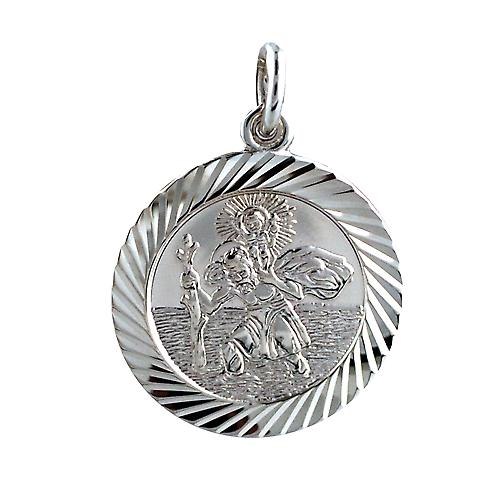 Silver 21mm round diamond cut edge St Christopher Pendant