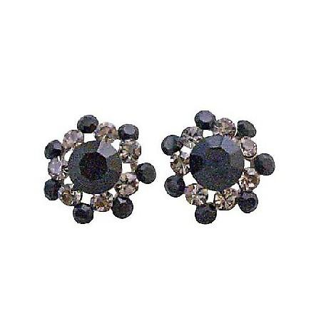 Jet & Black Diamond Crystals Round Sparkling Crystals Fashion Earring
