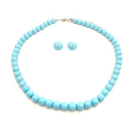 Pearls Jewelry Set For Bridesmaid In Blue Pool Color Necklace Stud Set