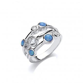Cavendish francuski Silver, CZ i niebieski Opalique Triple Band pierścień