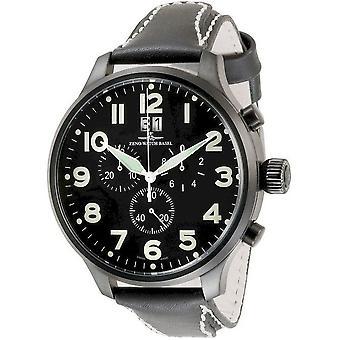 Zeno-watch reloj Super de gran tamaño Chrono Negro 6221-8040Q-bk-a1