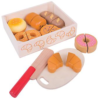 Bigjigs Toys Wooden Play Food Cutting Bread and Pastries Crate Roleplay