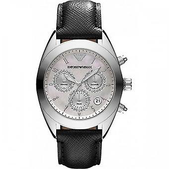 Armani Ar5961 Sportivo Silver Women's Leather Watch