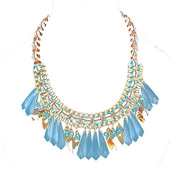 Ladies farverige dråber stil juvel erklæring Swarovski krystal halskæde