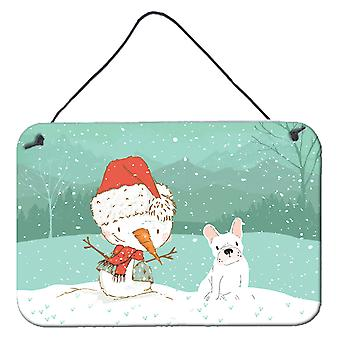 White French Bulldog Snowman Christmas Wall or Door Hanging Prints
