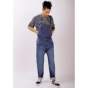 Mens relaxed fit organic denim dungarees light wash