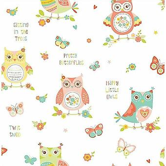 Owl Tree Floral Wallpaper Children's Room Pink Green Yellow White Fine Decor