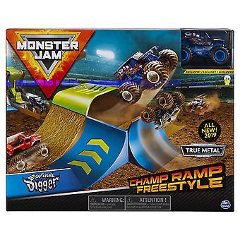 Monster Jam 1:64 Basic stunt Playsets CHAMP RAMP & son-UVA Digger Monster Truck