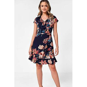iClothing Georgia Floral Wrap Dress In Navy-16