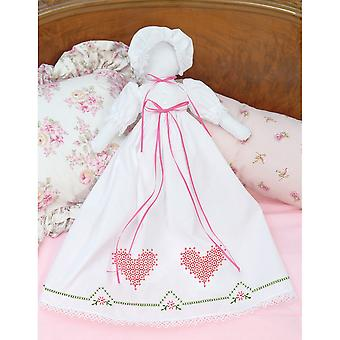 Stamped White Pillowcase Doll Kit Chicken Scratch Hearts 1900 514