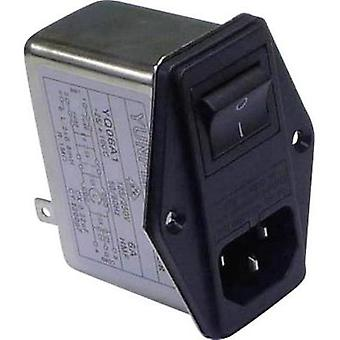 Mains filter + IEC socket, + switch, + 2 fuses 250 Vac 6 A 0.8 mH (L x W x H) 68 x 52.5 x 61 mm Yunpen YQ06A1 1 pc(s)