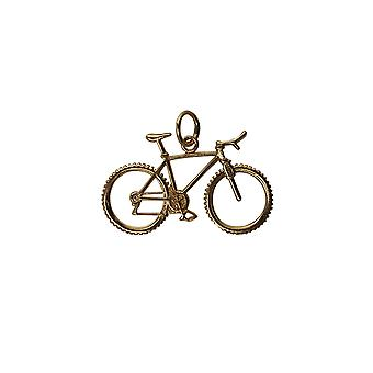 9ct Gold 17x29mm Bicycle and Cyclist Pendant or Charm