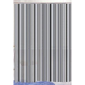Black Linear Stripe Designer Peva Shower Curtain 180 X 180Cm