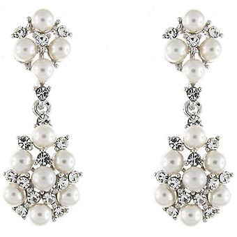 Elegant Bridal Swarovski Crystal & Pearl Flower Drop Earrings