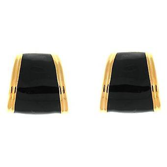 Kenneth Jay Lane Black Enamel & Gold Plated Semi Hoop Clip On Earrings