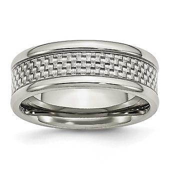 ステンレス彫刻用丸みを帯びたエッジ灰色の炭素繊維 8 mm 洗練されたバンド リング - 指輪のサイズ: 7 に 13
