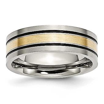 Titanium børstet antikke flad Band Engravable antikke finish 14k guld Inlay flad 7mm pensel/antik Band - ringstørrelse: 8