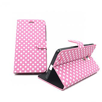 Sleeve case (flip cross) for mobile Huawei Ascend mate 7 Pink / White