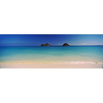 Islands in the Pacific Ocean Lanikai Beach Mokulua Islands Oahu Hawaii USA Poster Print