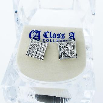 Bling iced out earrings - PAVE SQUARE 9 mm