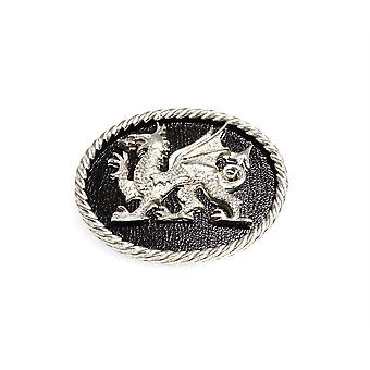 Handmade Welsh Dragon Oval Shaped Pewter Brooch