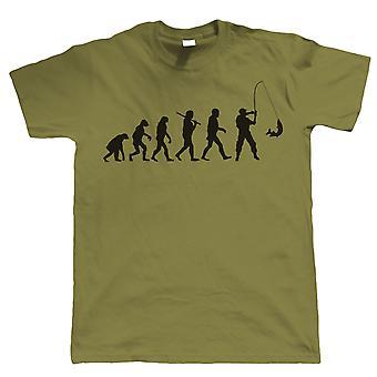 Ewolucja połowów, Mens Funny połowów T Shirt | Szorstkie morze karp meczu latać wzór rozwiązania rybacy Odzież wędkarstwo wędkarz | Fajne urodziny prezent przedstawić mu dziadek syn tata męża