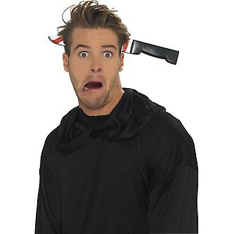 Knife in the head prank bloody knife Halloween headband