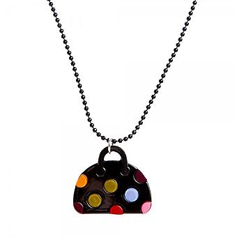 Camille Womens Ladies Black Beaded Chain Necklace Black Handbag With Multi-Coloured Polka Dot Spots