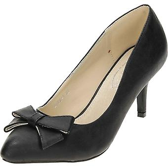 JWF High Mid Stiletto Heel retten Bryllupssko pegede Toe sort