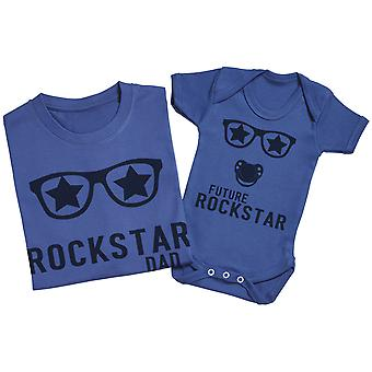 Future Rockstar Baby - Matching Father Baby Gift Set - Grey