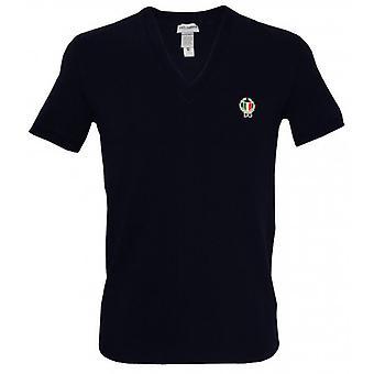 Dolce & Gabbana Sport Crest Deep V-Neck T-Shirt, Navy