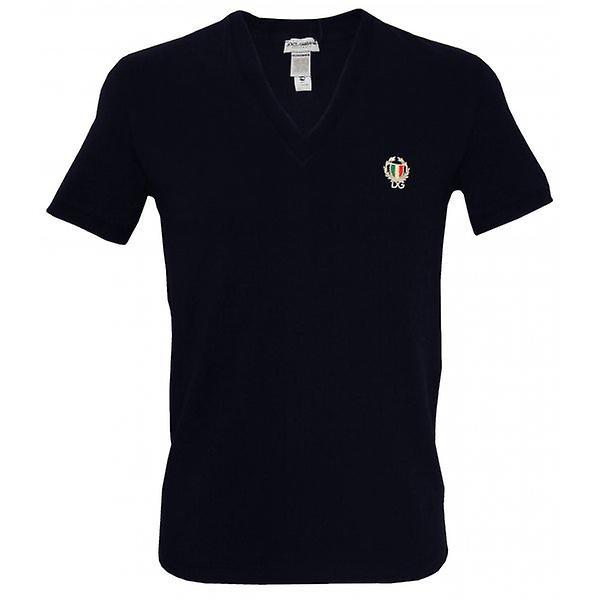 Dolce & Gabbana Sport Crest dyp v-hals t-skjorte, Navy