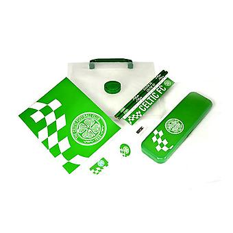 Celtic FC Childrens/Kids Official Checked Football Crest Stationery Gift Set