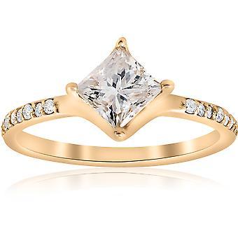 14k Rose Gold Princess Cut Diamond Engagement Ring 1ct Center Vintage Twist