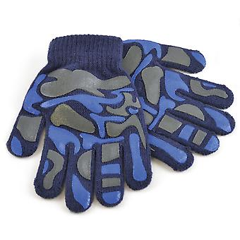 Childrens Boys Camo Design Winter Magic Gloves