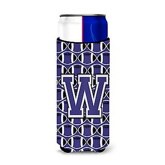 Letter W Football Purple and White Ultra Beverage Insulators for slim cans
