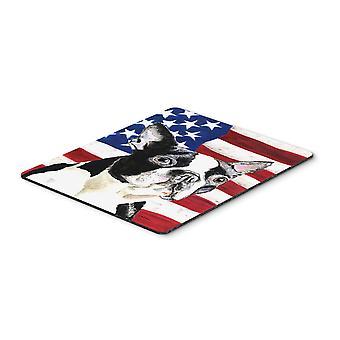 Bandera americana de Estados Unidos con cojín de ratón del Boston Terrier, almohadilla caliente o latas de refrescos