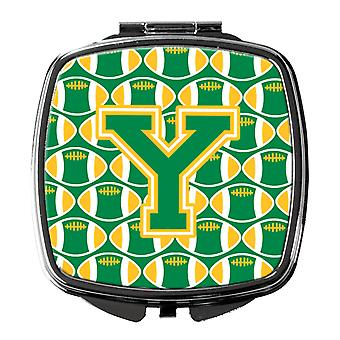Carolines Treasures  CJ1069-YSCM Letter Y Football Green and Gold Compact Mirror
