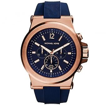 Michael Kors Watches Mk8295 Dylan Rose Gold & Blue Silicone Chronograph Mens Watch