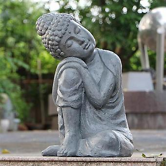Solstice Sculptures Buddha Crouching Grey Charcoal Effect Statue