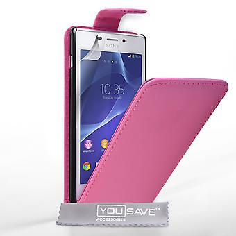 Yousave Accessoires Sony Xperia M2 cuir effet Flip Case - rose chaud