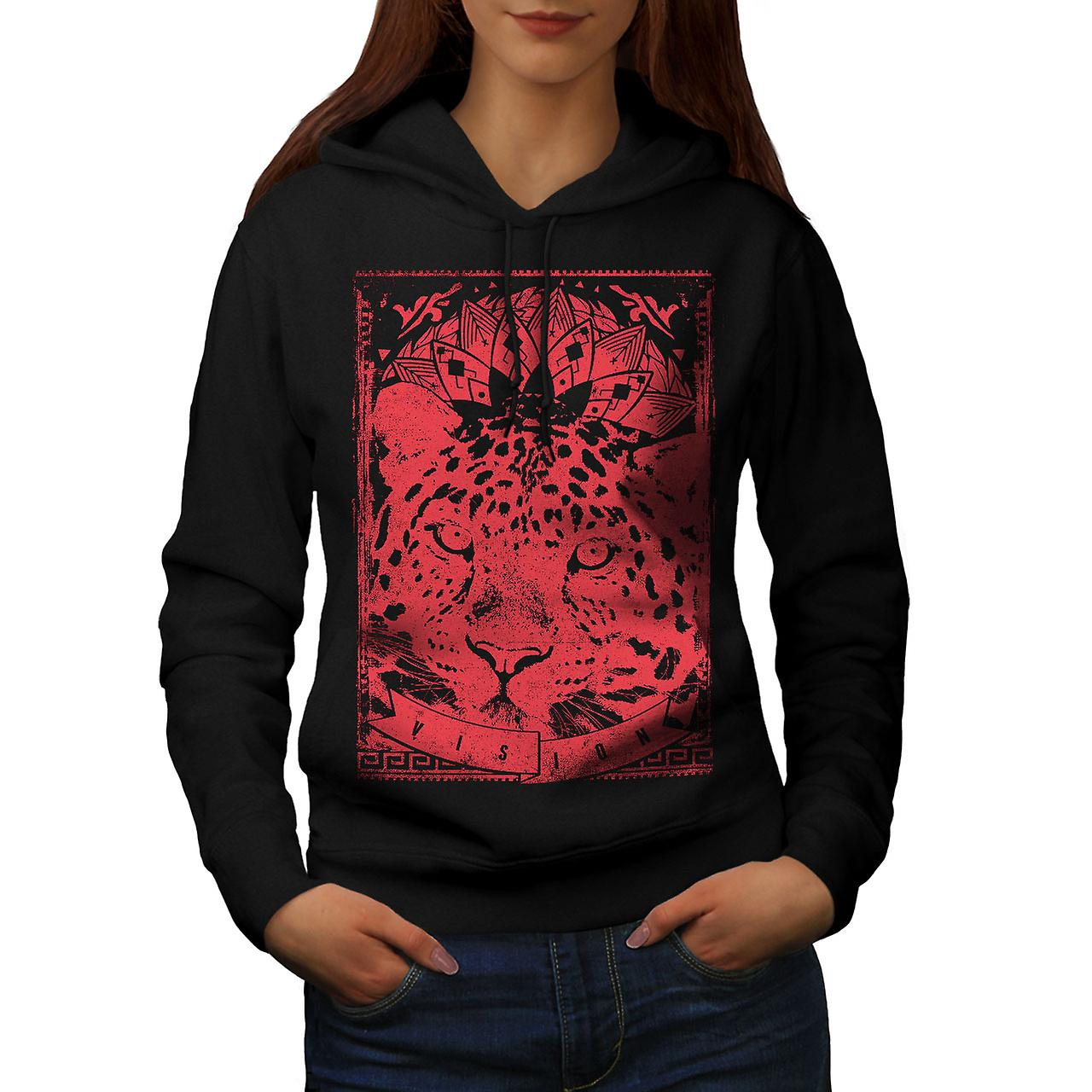 Leopard Vision Animal Women Black Hoodie | Wellcoda