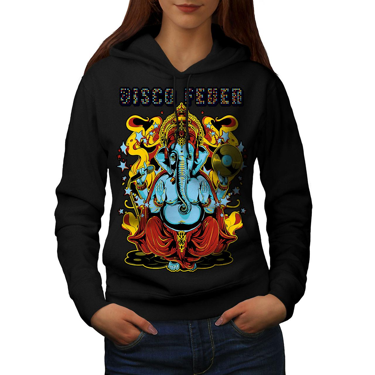 Disco Fever Elephant Women Black Hoodie | Wellcoda