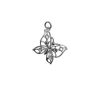 Silber 25x19mm Schmetterling Anhänger oder Charm
