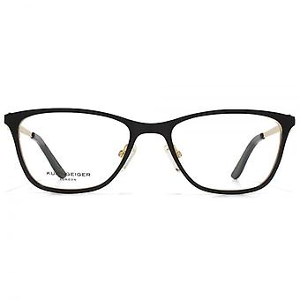 Kurt Geiger Ava Flat Sheet Glasses In Matt Black With Gold Interior
