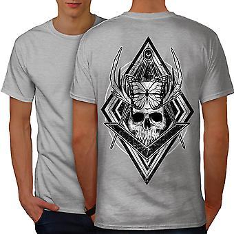 Evil Dead Skull Head Men GreyT-shirt Back | Wellcoda