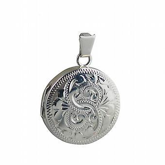 Silver 20mm engraved flat round Locket