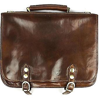 Итальянский кожаный портфель Flapover ноутбук сумка сумка коричневая унисекс