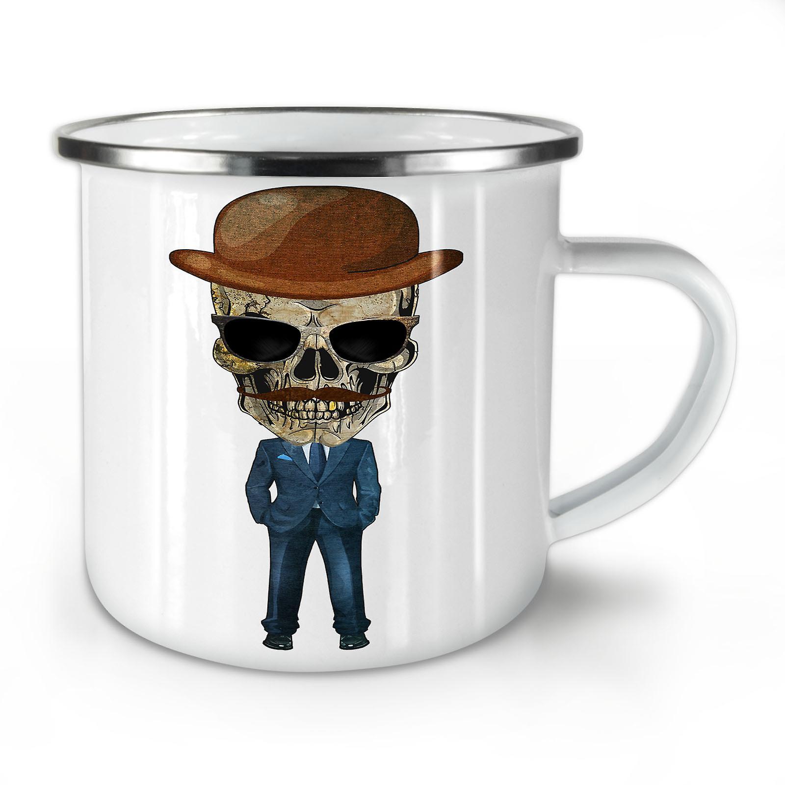 Mort Squelette Nouveau Whitetea Mug10 OzWellcoda Café Costume Émail T3KJF1lc